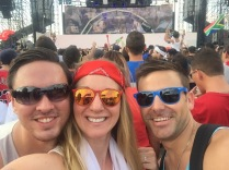 Partying at Ultra with my host Llyod and Matt